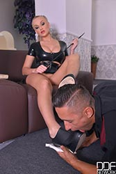 Hallway Fucking - Mistress Spanks His Butt And Gets Her Ass Banged